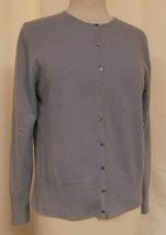 ANN TAYLOR Cashmere Cardigan Sweater Button Front Long Sleeve Lilac Sz L... - $34.29