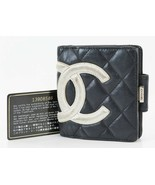 Authentic CHANEL Black Quilted Leather CC Snap Bifold Wallet #38030A - $239.00
