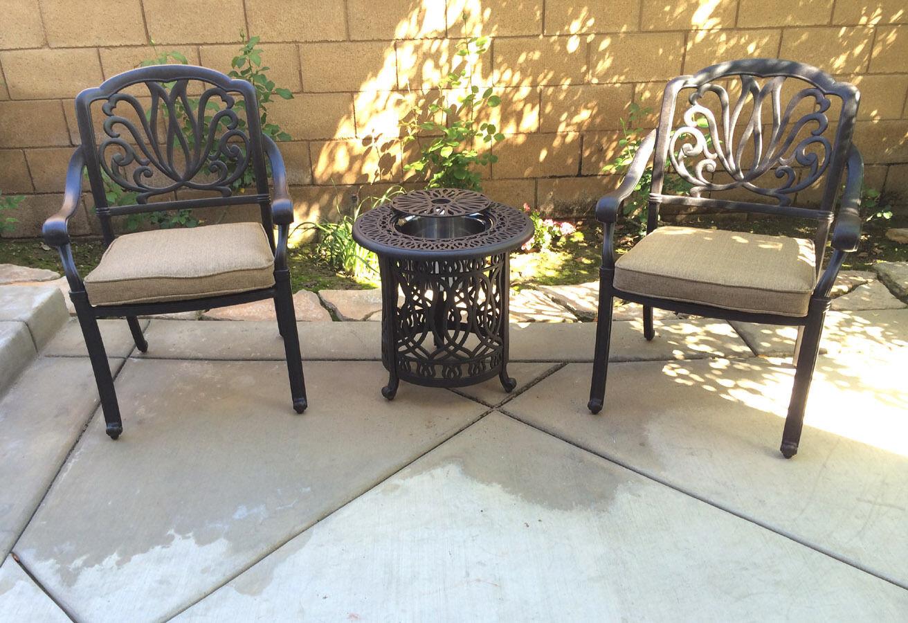 Bistro Patio Set 3 Piece Conversation Cast Aluminum Outdoor Furniture Elisabeth