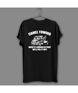 Camel funny Black T-Shirt Towing Rude Joke Novelty Navy Shirt gift prese... - $17.99