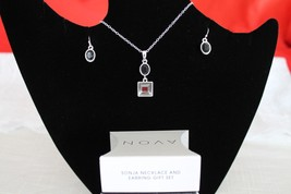 'Sonja' Necklace and Earrings Gift Set- Black/ Silver tone - $14.99