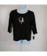 Karen Scott 3/4 Sleeve Harvest Scoop Neck Embellished Neck Moon Cat Blac... - $27.84