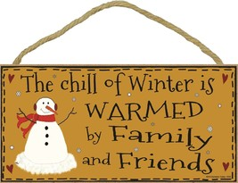 Snowman The Chill Of Winter Is Warmed By Family And Friends Christmas Wo... - $12.86