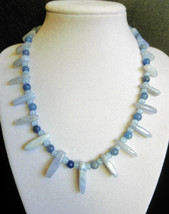 """16 1/2"""" genuine blue lace agate, aventurine, and sapphire necklace - $98.00"""