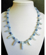 "16 1/2"" genuine blue lace agate, aventurine, and sapphire necklace - $98.00"