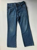 EUC Boys 8 Denim Boot Cut Dark Wash Blue Jeans Adjustable Waist Pants - $4.00