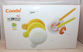 Combi Japanese Baby Label Tableware Feeding Step1 7pc Set Spoon Bowl For... - $28.44