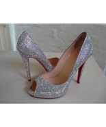 Swarovski Crystal Peep Toe Red Bottom Bridal Shoe Sparkle Wedding Shoes ... - $135.00