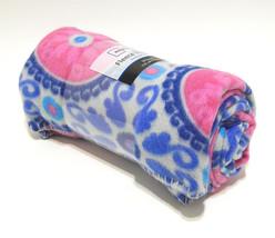 "Super Soft Fleece Throw Blanket 50x60"" Medallion Mandala Blue Pink New - $14.35"