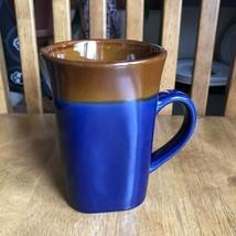 Royal Norfolk Stoneware Blue Brown Two Tone Square 14oz Coffee Mug Handmade NWT - $7.92