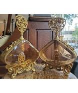 Pair of Vintage Matson Stylebuilt 24K Ormolu Snake Mesh Vanity Perfume B... - $359.99