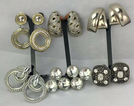 Clip On Earring Lot 6 Pairs Large Silver Tone Metal Estate Needs Cleaned - $15.96