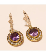 Two Tone Omega Back Earring Fine Jewelry Amethyst Gemstone 925 Sterling ... - $24.58