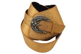 Damen Extra Breit Band West Gürtel Hüfte Taille Metallic Gold Color Plus - $29.32