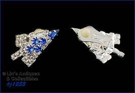 Eisenberg Ice Signed Candle Tree Earrings Clear and Blue Rhinestones (#J... - $68.00