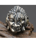 2017 Men Ring 925 Sterling Silver Men Jewelry Vintage Punk Buddha Magic ... - $71.99