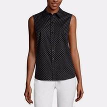 Liz Claiborne Women's Sleeveless Button Front Shirt X-LARGE Black Polka Dot New - $24.94