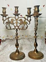"PAIR OF ANTIQUE BRASS 3 Light Sabbath Shabbos Candelabrum 14 1/4"" T X 9"" W  image 3"