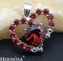 925 Sterling Silver Garnet Heart Pendant Necklace - $19.75