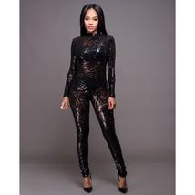 2017 Fashion Transparent Sequin Geometric Designs Zipper Back Jumpsuit W... - $36.80