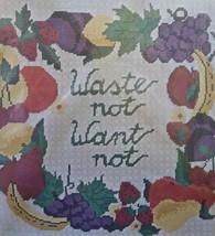 Sampler Needlepoint Kit Bucilla Simple Living Waste Not Want Not Pillow Wool Yar - $14.95
