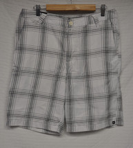 """QUIKSILVER White Casual Shorts 34 22"""" length Gray & Black Pinstripes - $16.79"""