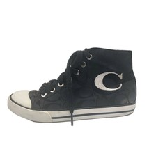 "COACH signature C logo black jacquard sneakers w/ ""C"" multi-colored lining 5.5 - $34.65"