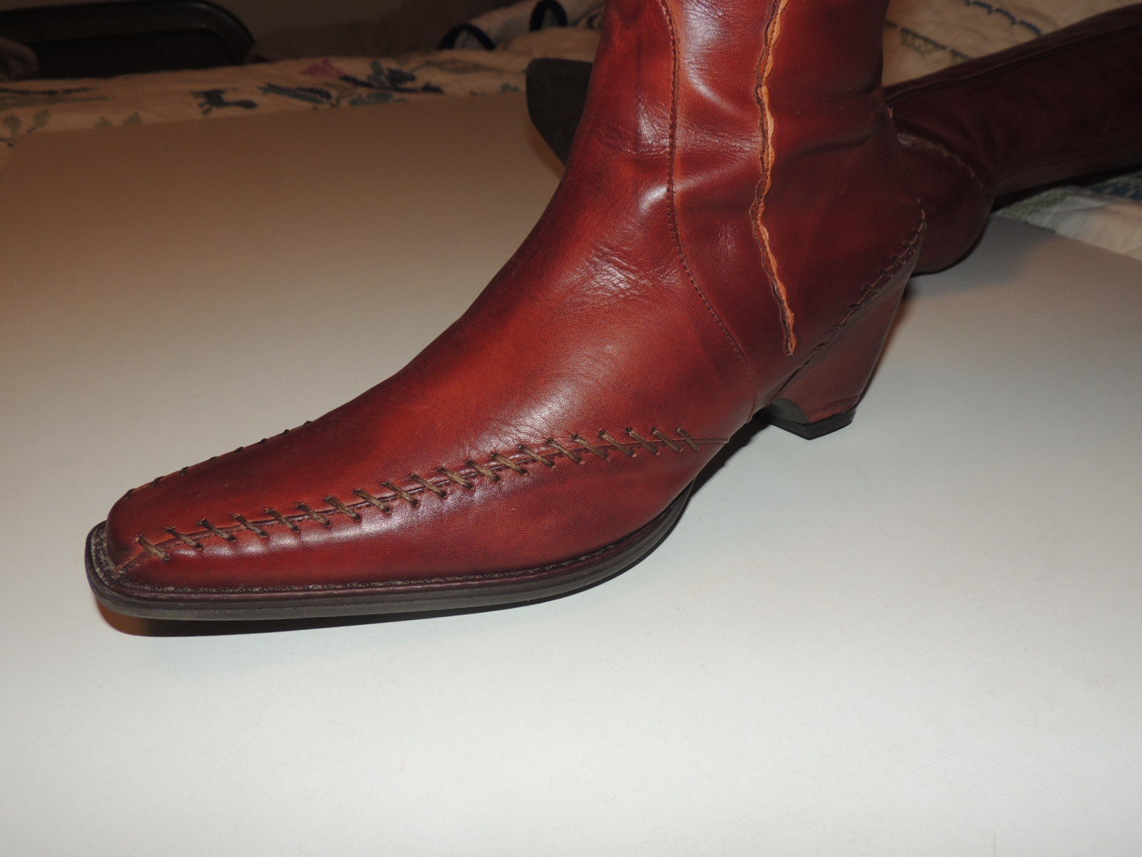 Gorgeous PIKOLINOS Brown Leather Tall Boots w Zipper Flower Size 40 8.5 EUC image 4