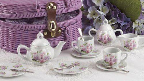 Posh Delton Child Size Little Tea Set for 2 in Purple Basket, Pink Rose Pattern