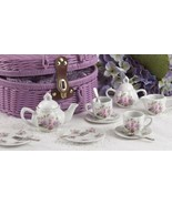 Posh Delton Child Size Little Tea Set for 2 in Purple Basket, Pink Rose Pattern - €33,25 EUR