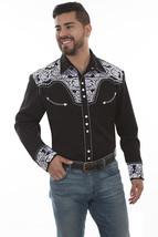 Men's Western Shirt Long Sleeve Rockabilly Country Cowboy Black White Fl... - $87.38