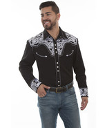 Men's Western Shirt Long Sleeve Rockabilly Country Cowboy Black White Fl... - $87.79