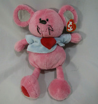 "TY PLUFFIES 2005 11"" PATTER THE BABY PINK MOUSE SHIRT STUFFED ANIMAL PLUSH - $29.69"