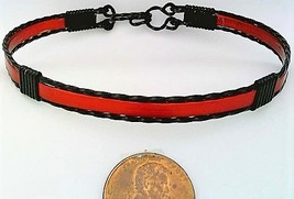 Red Anodized Aluminum Black Copper Wire Wrap Bracelet 2 - $13.00