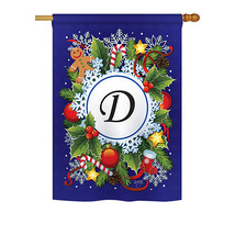 """Winter D Initial - 28"""" x 40"""" Impressions House Flag - H130082 - $40.97"""