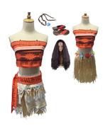 Adult Kids Disney Moana Movie Polynesia Princess Cosplay Costume Dress - $17.11+