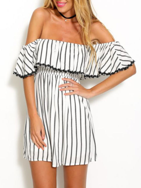 Black and white striped summer cotton princess mini off shoulder dress with short sleeve1