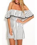 Black And White Striped Summer Cotton Princess Mini Off Shoulder Dress  - £15.47 GBP