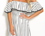 Nd white striped summer cotton princess mini off shoulder dress with short sleeve1 thumb155 crop