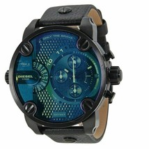 Diesel DZ7257 Bad Ass Chronograph Blue Dial Black Leather Men's Watch - $166.00 CAD