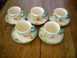 VINTAGE FRANCISCAN WARE TULIP PATTERN CUP & SAUCER SETS (5). MADE IN ENG... - $29.65