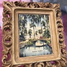Cypress Gardens Souvenir Plaque Wall Hanging Picture Vintage Kitsch Vaca... - $9.89