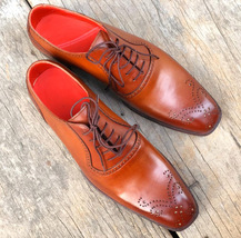 Handmade Men's Tan Leather Lace Up Brogues Dress/Formal Oxford Shoes image 3