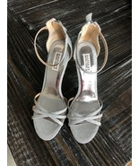 "Badgley Mischka Shoes 5"" Stiletto Heels Sz 10 Silver Metallic SParkle - $52.35"