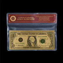 WR US 1$ Dollar Note Color Gold American Money Bill Collectible 18th BDd... - $4.80