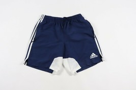 Vintage Adidas Hommes Petit Sort Sortie Rayé Course Jogging Football Short Bleu - $33.61