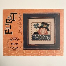 Lizzie Kate Flip It March Stamp Cross Stitch Pattern w/ Buttons Leprechaun Gold - $2.97