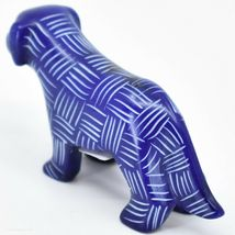 Vaneal Group Hand Carved Kisii Soapstone Dark Blue Standing Puppy Dog Figurine image 3