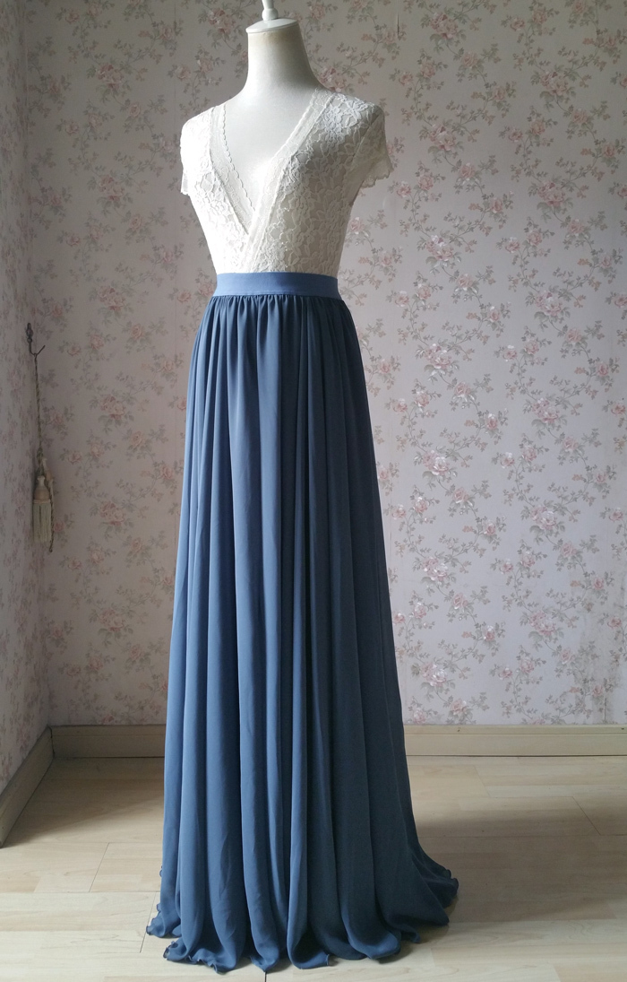 Dusty blue chiffon skirt wedding bridesmaid 700 2