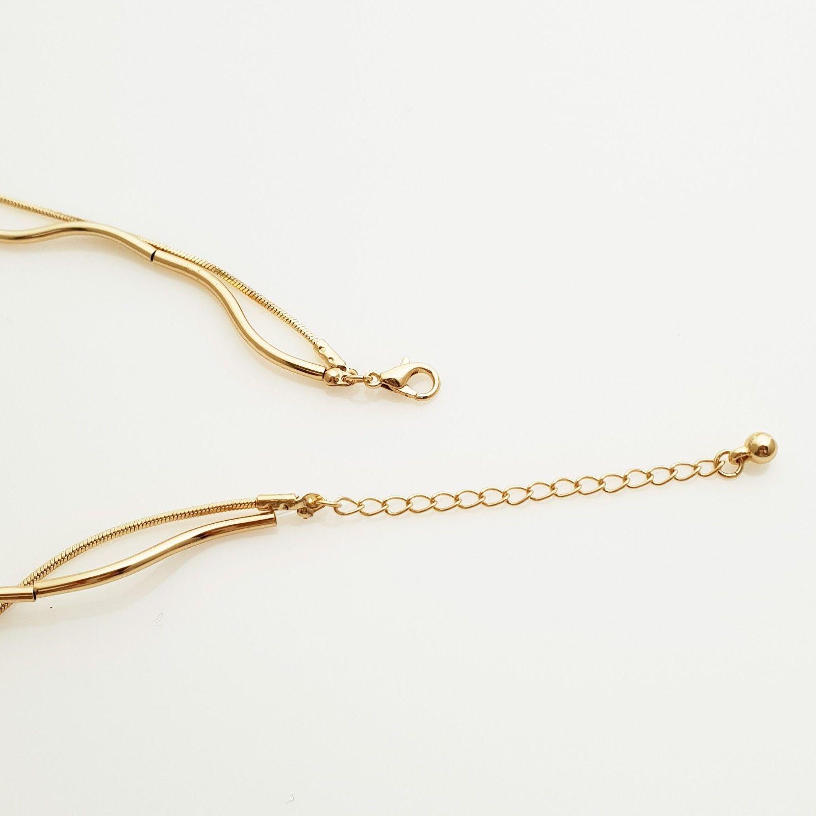 Multi-Strand Curved Bar Choker Necklace Brass Gold Tone Fashion Item N20
